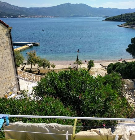 Korcula Island, Croatia: The view from the balcony of our apartment booked thru Korcula Explorer. With laundry (no shame)