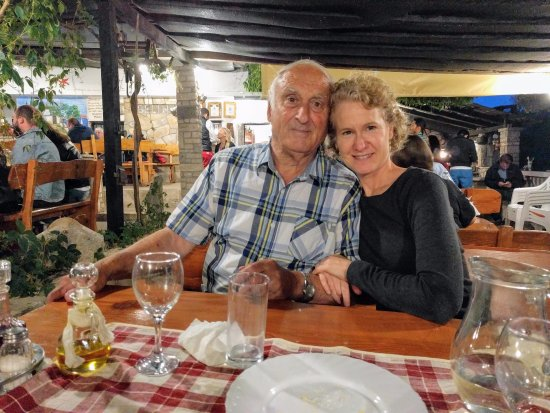Korcula Island, Croatia: Frank and I after dinner at Konoba Belin. Fun Zrnovo tour.