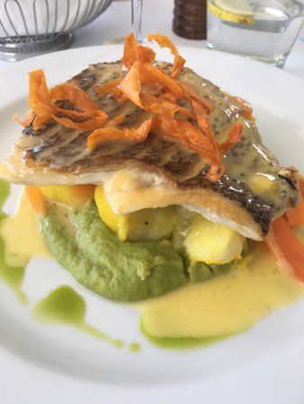 Omeros on the Beach: Snapper on Pea Purée