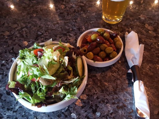 Tolland, CT: House Salad and Roasted Olives