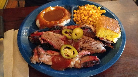 Dinosaur Bar-B-Que: Delux Brisket Plate, Mashed Potatoes & Gravy, Cajun Corn, Honey Hush Cornbread