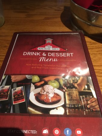 Drink And Dessert Menu Picture Of Machine Shed Appleton
