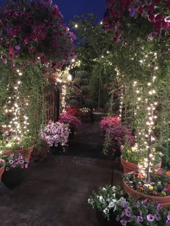 Branchburg, NJ: Entrance to the outdoor seating area at night in May.