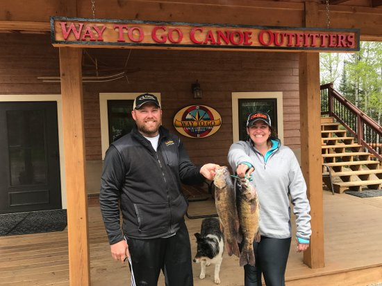"""Ely, MN: Successful fishing trip - two 20"""" SM bass going home with us!"""