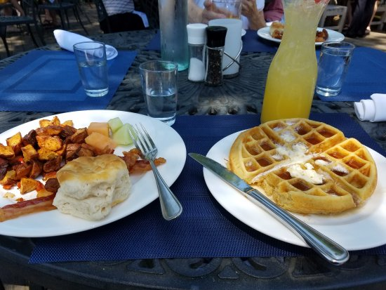 Midlothian, VA: Waffle with fruit, potatoes,  bacon, and biscuit