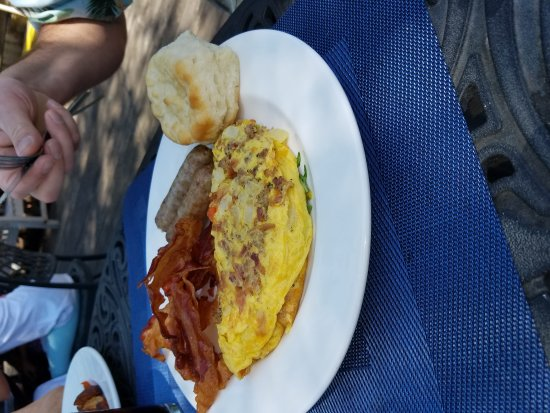 Midlothian, VA: Sausage craft omelet with bacon, sausage, and biscuit