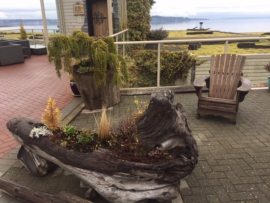 Courtenay, Canada: Incredible use of driftwood, entranceway, Kingfisher Oceanside Resort and Spa, 4330 Island Hwy S