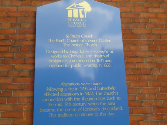 St. Paul's Church (The Actors' Church) : The Sign by the Door with the History.