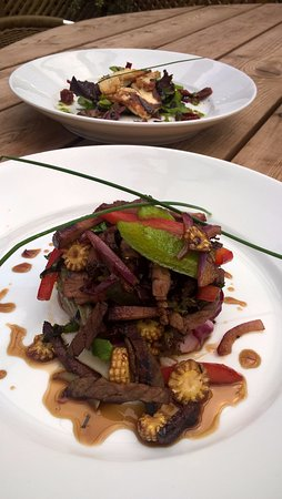 Stoke Albany, UK: Crispy beef salad with Thai vegetables, soy & lime dressing