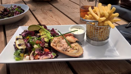 """Stoke Albany, UK: Crab salad with avocado and French fries from the """"specials"""""""