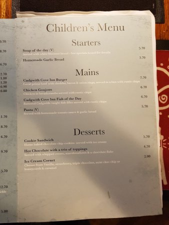 Cadgwith, UK: Prices on the menu