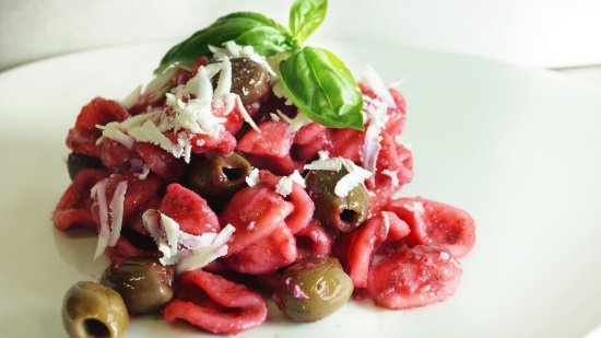 Hotel Artemide: Orecchiette (typical Italian short pasta) with beetroot sauce, olives and salted ricotta