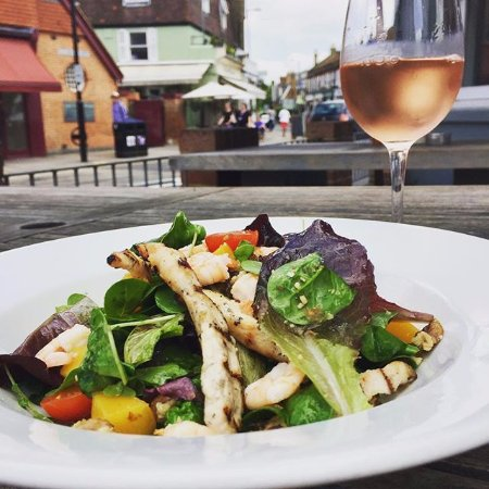 Dog & Fox : Grilled chicken and prawn salad, with a side of whispering angel rose!