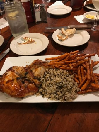 Salt Point, NY: bbq chicken, wild rice, sweet potato fries- deeeelicious