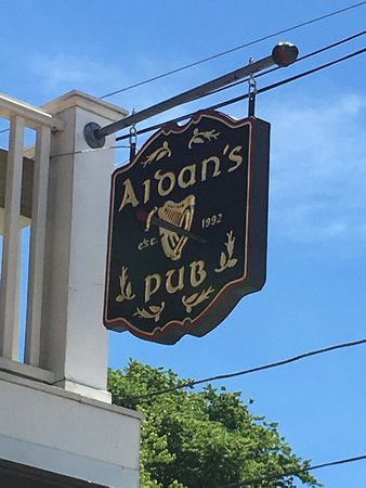 Bristol, RI: Sign above exterior deck