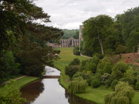Fountains Abbey and Studley Royal Water Garden: View from above the lake on our walk