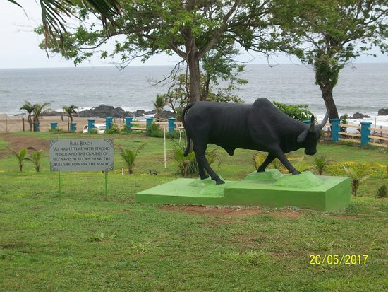 Bull Beach : bull statue looking to ocean