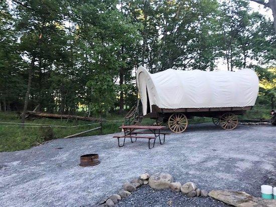 Delaware Water Gap / Pocono Mountain KOA: Brand new replica Conestoga Wagon for 2017!  Available for nightly rental!