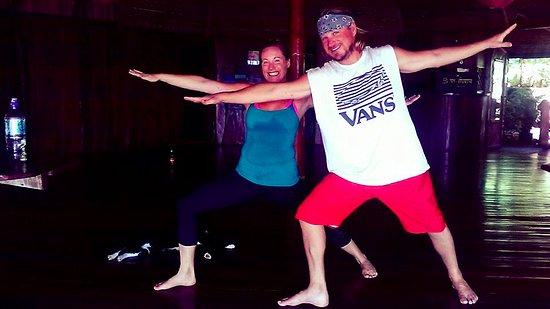 Montezuma Yoga : Myself and my hubby posing in warrior II after class