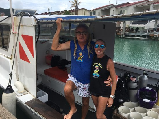 Jolly Harbour, Antigua: Paul and Cornelia on their Dive Boat