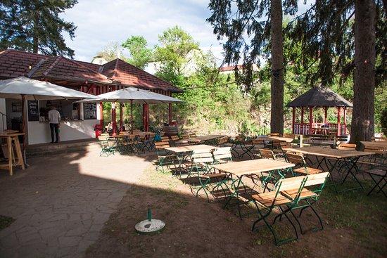 Plank am Kamp, Ausztria: Der große Gastgarten bietet genügend Platz und Schatten.