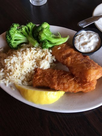 Saint Clair Shores, MI: Fish and chips (rice instead of chips)