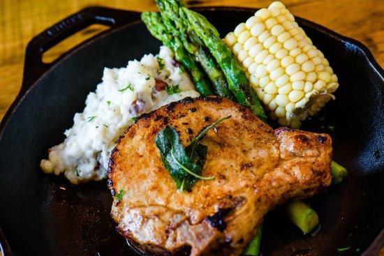 Ramona, CA: Maple Brined Pork chop with seasonal farm fresh veggies