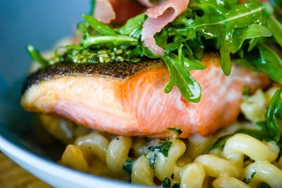 Ramona, CA: Pan seared Salmon with prosciutto arugula salad