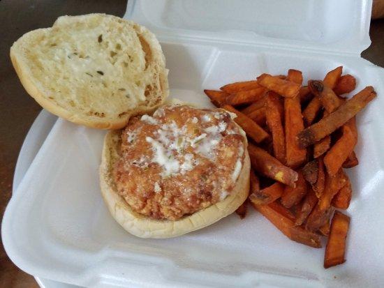 Saint Helena Island, SC: Shrimp Burger & Sweet Potato Fries