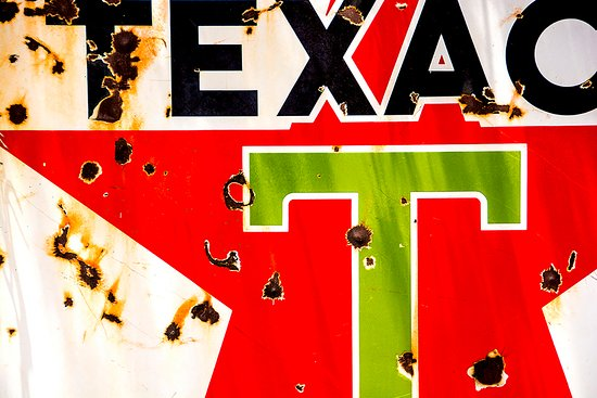 Son Silver West Gallery : Close up of Texaco sign.