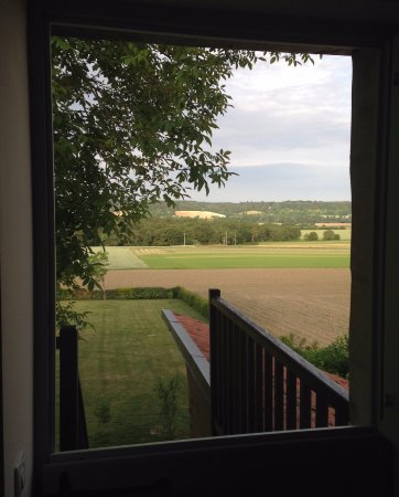 Le Grand-Pressigny, France : View out the front door to the open countryside.