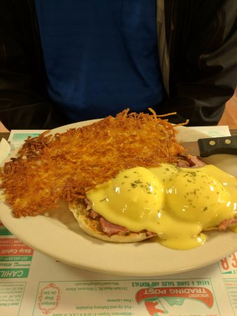 Miss Wiscasset Diner: Eggs Benedict and hashbrowns