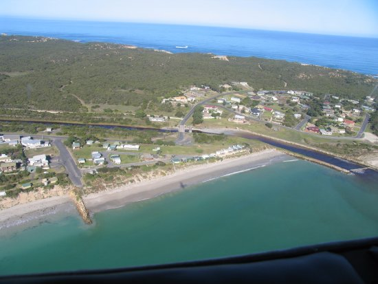 Aerial view of Southend. Rivoli Bay at front - Southern Ocean at back