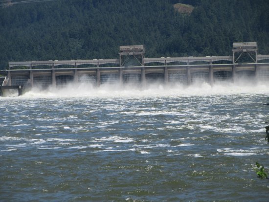 North Bonneville, WA: View of Dam from this area, Fort Cascades Historic Site, Columbia River, Washington