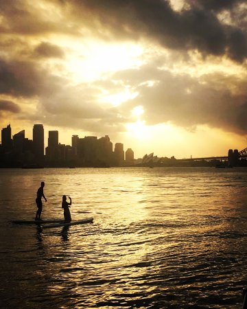 Champagne Sailing Sydney: Paddleboarding on our onboard Paddleboards