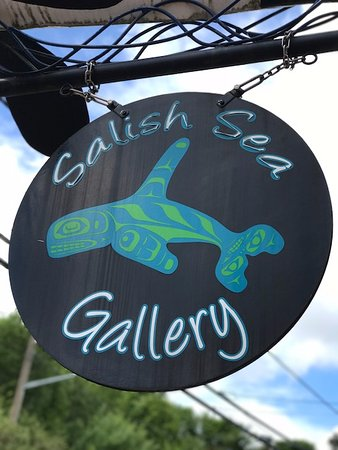 Salish Sea outdoor signage for Ocean EcoVentures Whale Watching, 1721 Cowichan Bay, BC