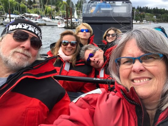 Pre whale watching selfies, Ocean EcoVentures Whale Watching, 1721 Cowichan Bay, BC