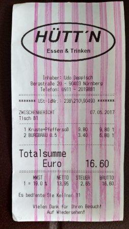 Hutt'n Essen & Trinken: ценник