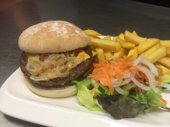 Llangorse, UK: Double cheese burger with onions &  chips & side salad
