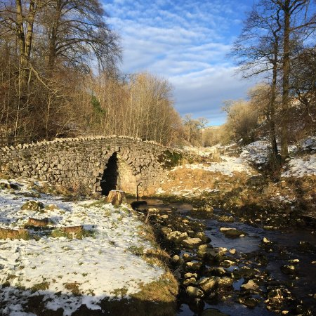 Clapham, UK: The bridge outside Ingleborough Cave during the winter.