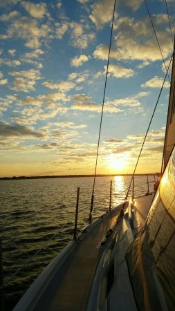 Island Heights, NJ: Sunset aboard the S/V Express Mail with Captain Mike at the helm.