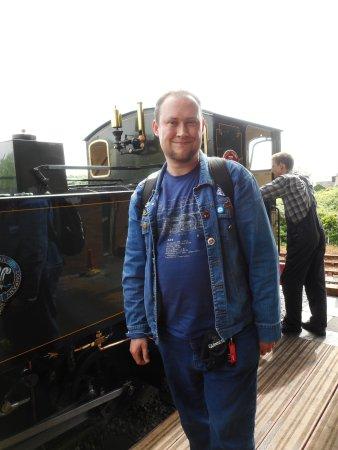 Talyllyn Railway: Me with No 7 Tom Rolt at Tywyn.