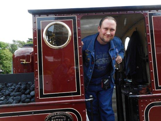 Talyllyn Railway: Me in the cab of Dolgoch.