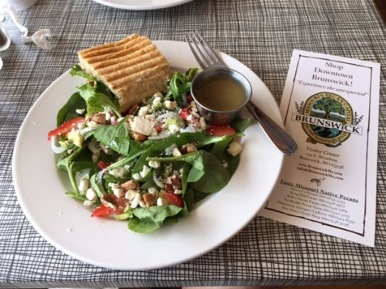 Brunswick, MO: Best spinach/strawberry salad ever with delicious 1/2 club sandwich