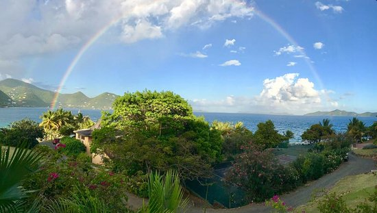Frenchmans: Shows the view from our room enhanced by the full rainbow!