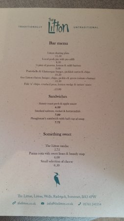 Litton, UK: Menu, one of four.