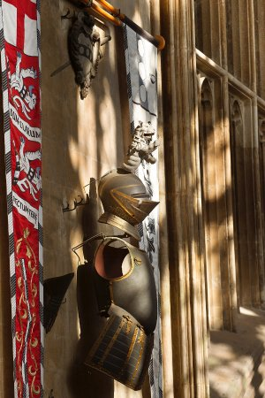St Mary Redcliffe Church: Admiral William Penn's C17th armour mounted on the wall at the west end of St Mary Redcliffe