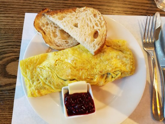 Ada, MI: French Omelette with Sourdough toast and Raspberry jam