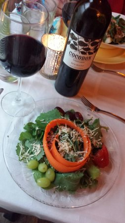 LaBinnah Bistro: House Salad and Wine
