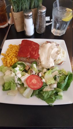 Square Plate: Today's special meat loaf